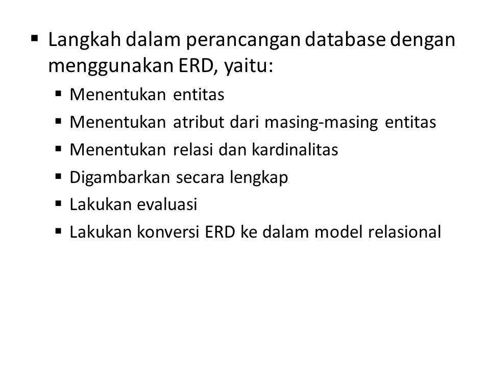 Langkah dalam perancangan database dengan menggunakan ERD, yaitu: