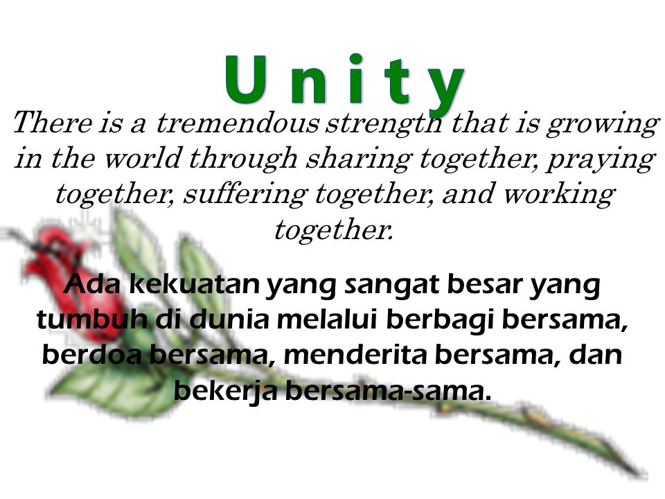 There is a tremendous strength that is growing in the world through sharing together, praying together, suffering together, and working together.