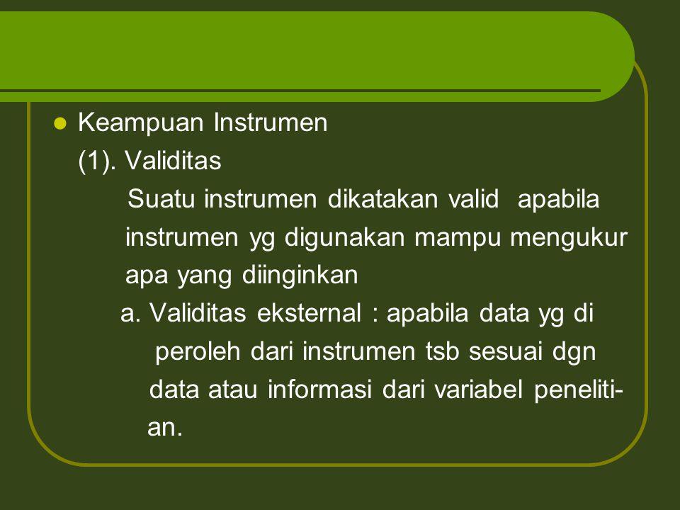 Keampuan Instrumen (1). Validitas. Suatu instrumen dikatakan valid apabila. instrumen yg digunakan mampu mengukur.