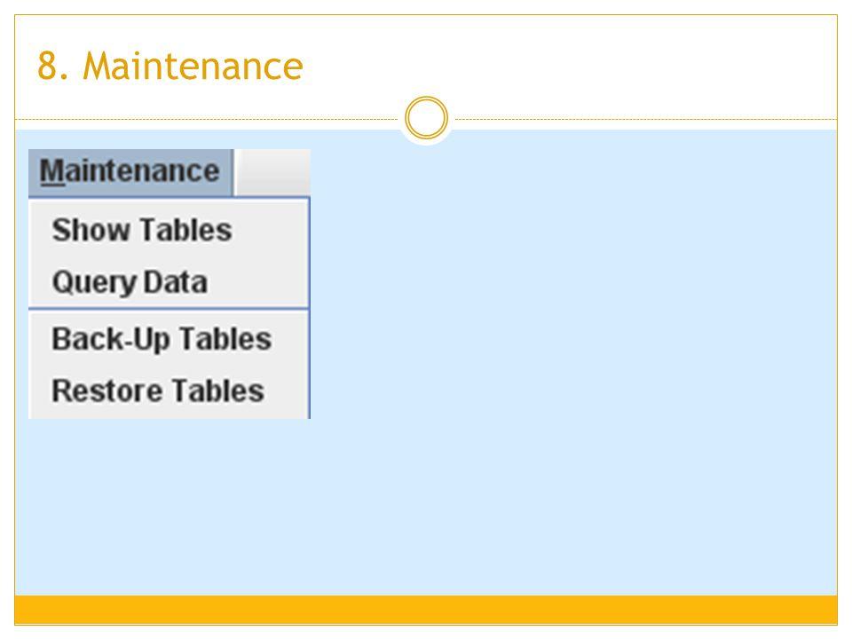 8. Maintenance