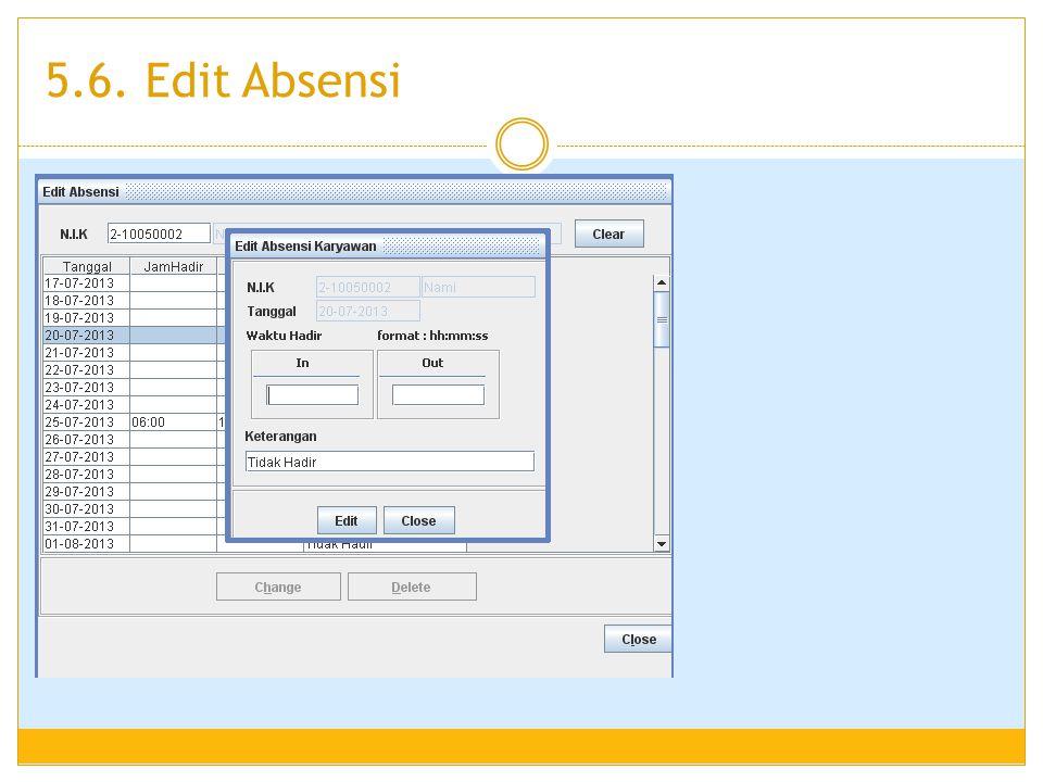 5.6. Edit Absensi