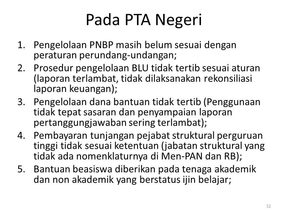 Pada PTA Negeri Pengelolaan PNBP masih belum sesuai dengan peraturan perundang-undangan;