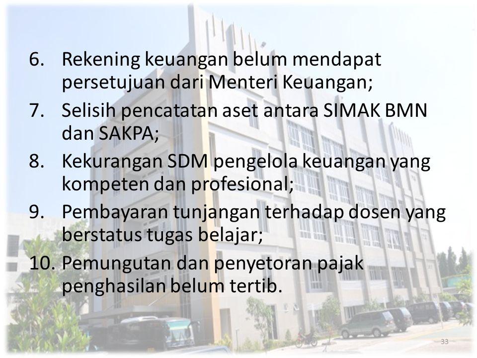Rekening keuangan belum mendapat persetujuan dari Menteri Keuangan;