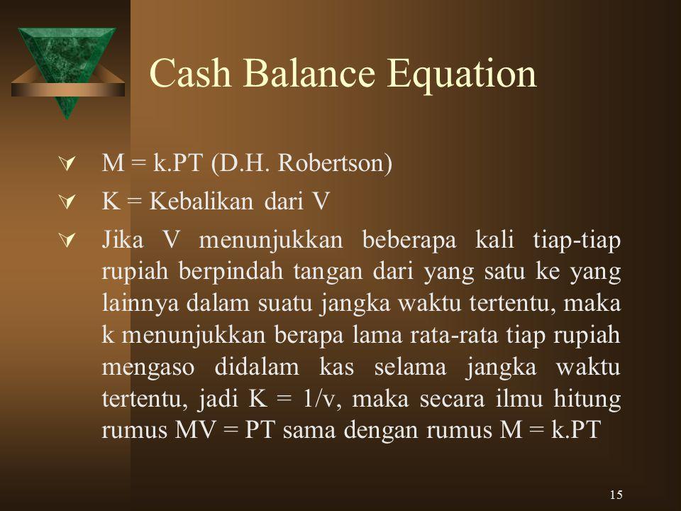 Cash Balance Equation M = k.PT (D.H. Robertson) K = Kebalikan dari V