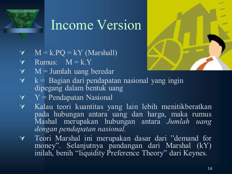Income Version M = k.PQ = kY (Marshall) Rumus: M = k.Y