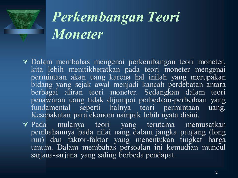 Perkembangan Teori Moneter
