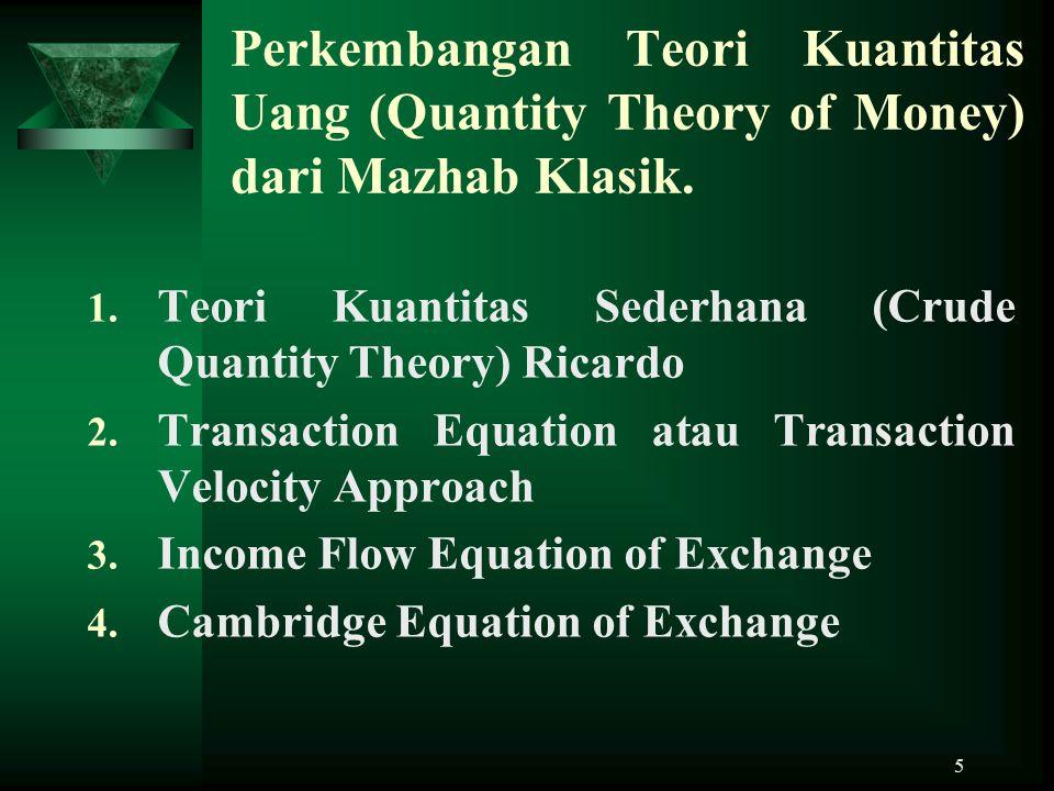 Perkembangan Teori Kuantitas Uang (Quantity Theory of Money) dari Mazhab Klasik.