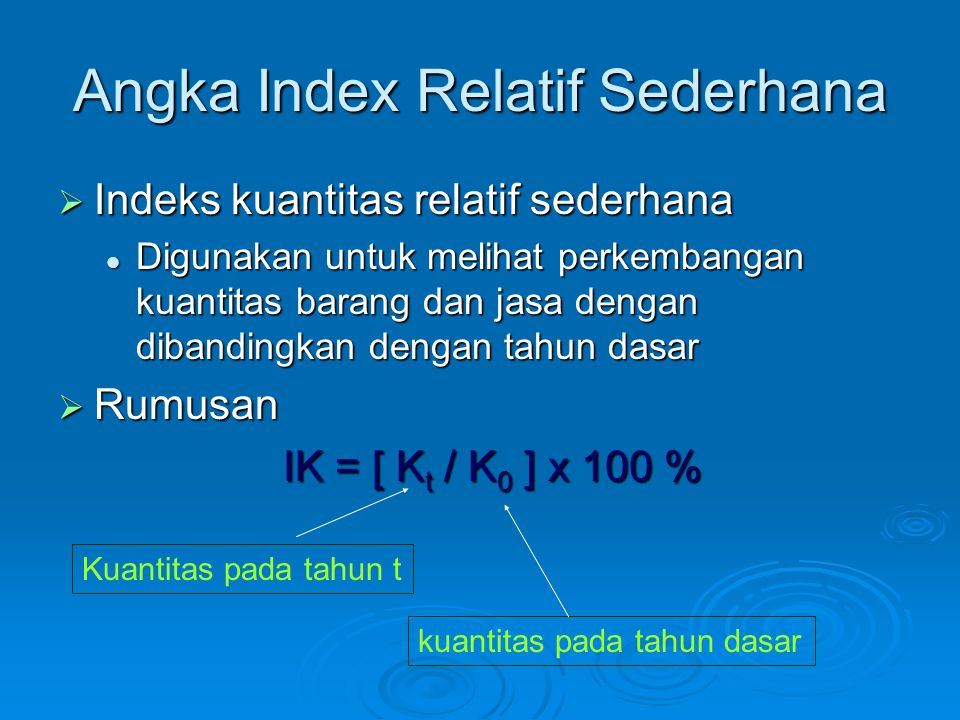 Angka Index Relatif Sederhana