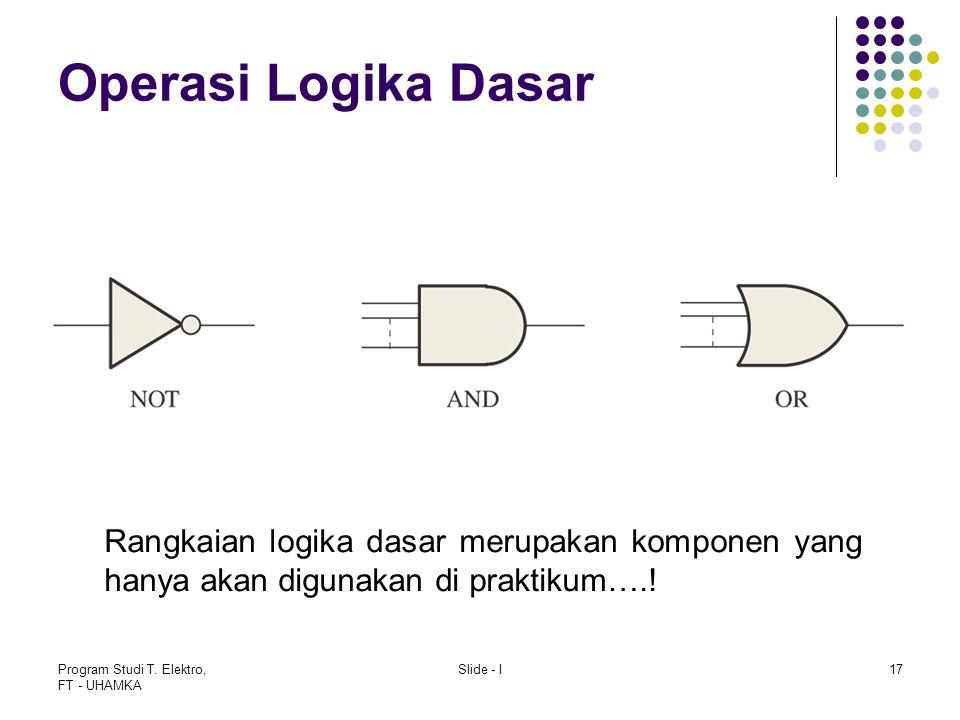 Operasi Logika Dasar Rangkaian logika dasar merupakan komponen yang hanya akan digunakan di praktikum….!
