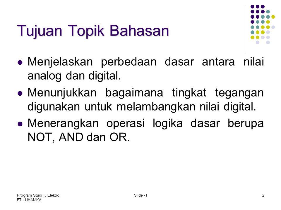 Tujuan Topik Bahasan Menjelaskan perbedaan dasar antara nilai analog dan digital.