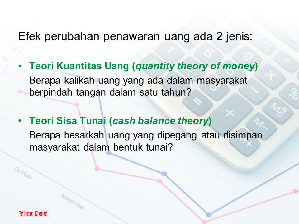 Efek perubahan penawaran uang ada 2 jenis: