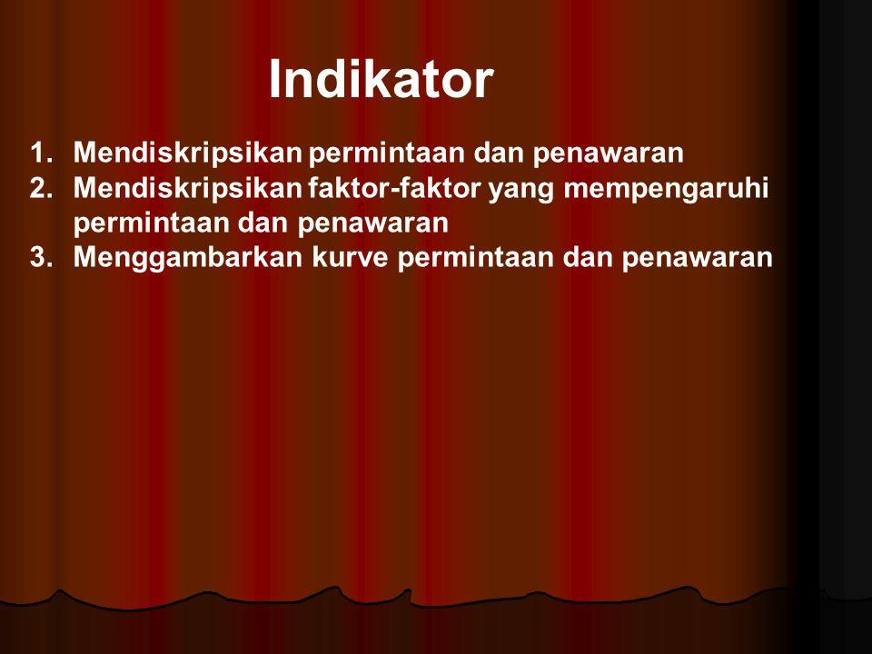 Indikator Mendiskripsikan permintaan dan penawaran