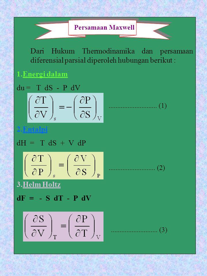 Dari Hukum Thermodinamika dan persamaan diferensial parsial diperoleh hubungan berikut :