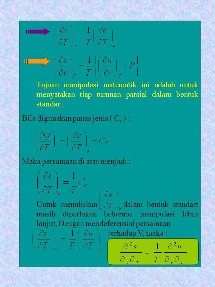 Tujuan manipulasi matematik ini adalah untuk menyatakan tiap turunan parsial dalam bentuk standar :