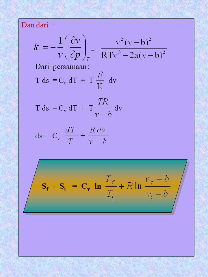 Sf - Si = Cv ln Dan dari : Dari persamaan : T ds = Cv dT + T dv
