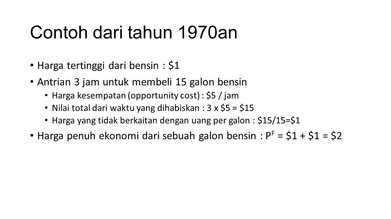 Contoh dari tahun 1970an Harga tertinggi dari bensin : $1