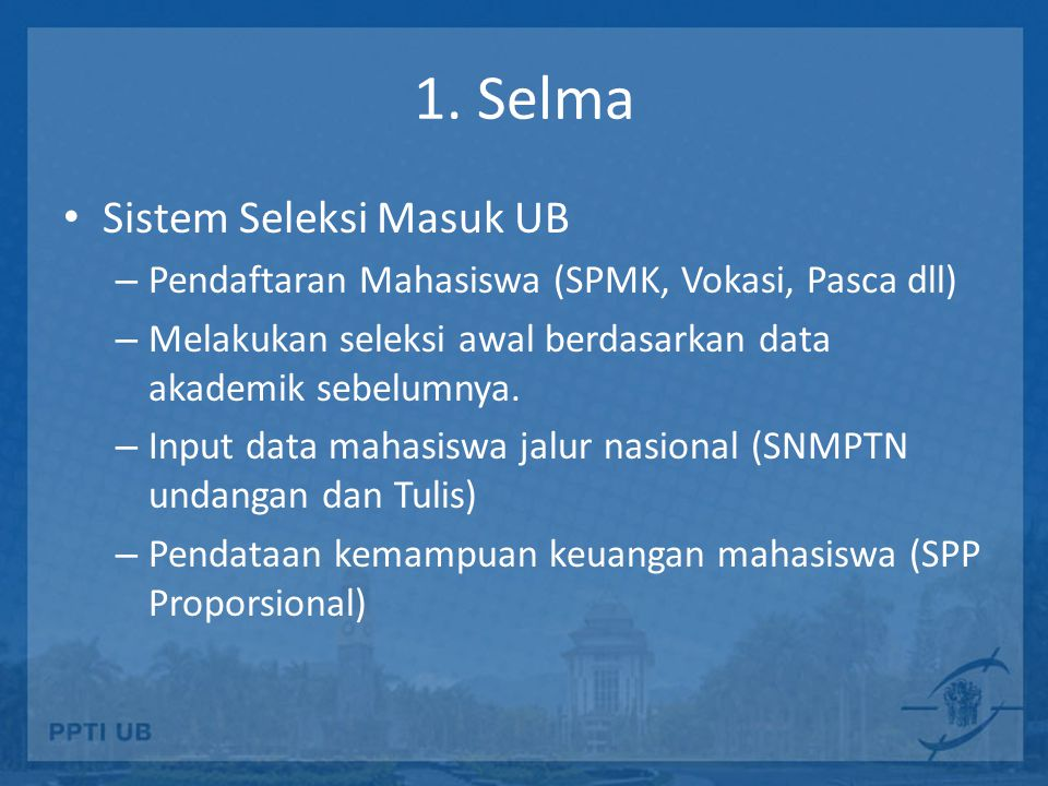 1. Selma Sistem Seleksi Masuk UB