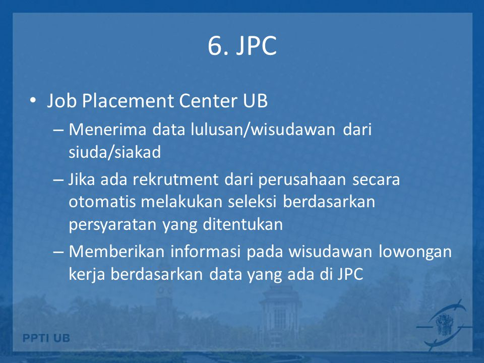 6. JPC Job Placement Center UB