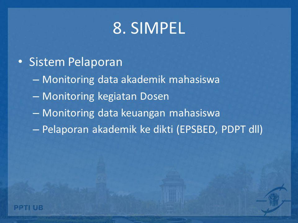 8. SIMPEL Sistem Pelaporan Monitoring data akademik mahasiswa