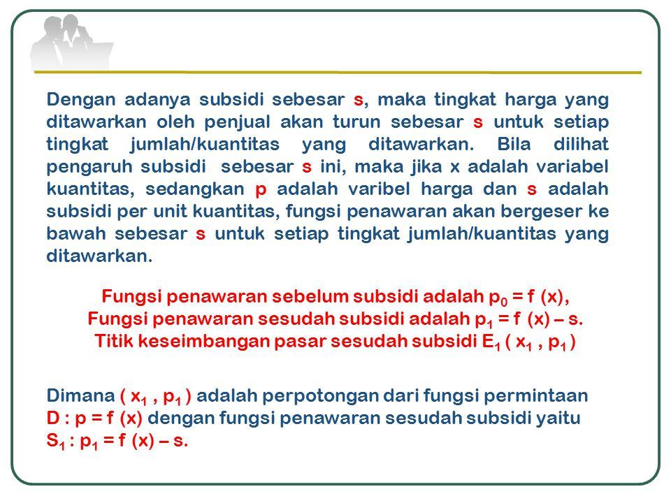 Fungsi penawaran sebelum subsidi adalah p0 = f (x),