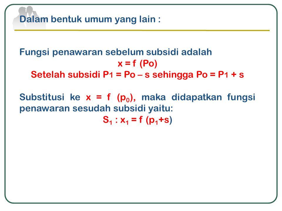 Setelah subsidi P1 = Po – s sehingga Po = P1 + s