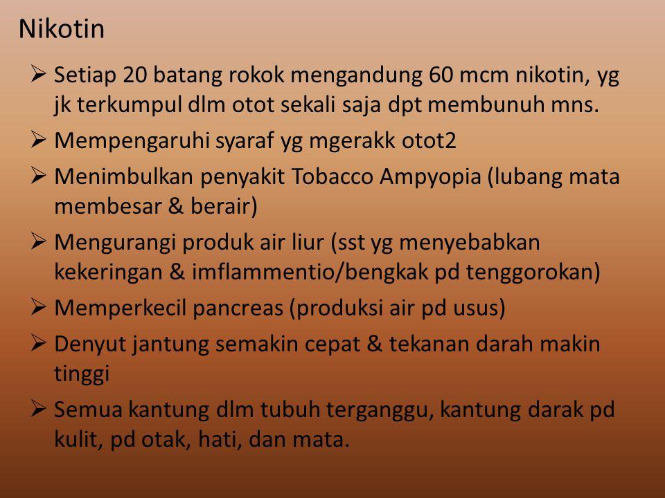 Nikotin Setiap 20 batang rokok mengandung 60 mcm nikotin, yg jk terkumpul dlm otot sekali saja dpt membunuh mns.