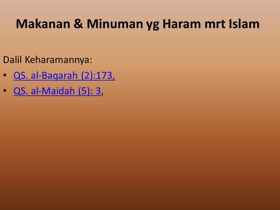 Makanan & Minuman yg Haram mrt Islam