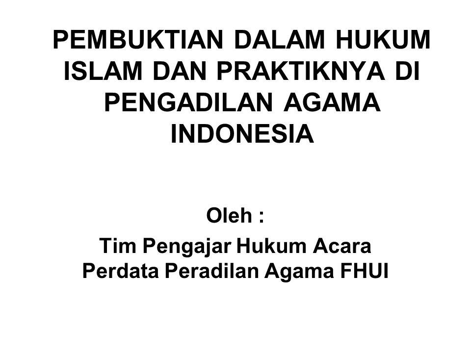 Oleh : Tim Pengajar Hukum Acara Perdata Peradilan Agama FHUI