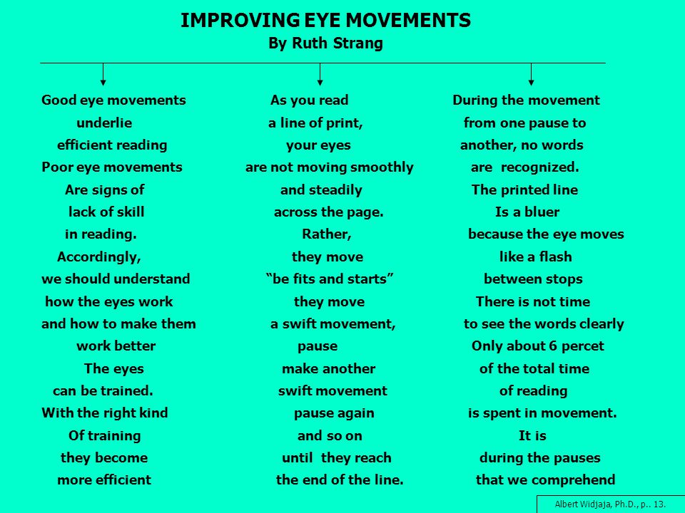 IMPROVING EYE MOVEMENTS By Ruth Strang