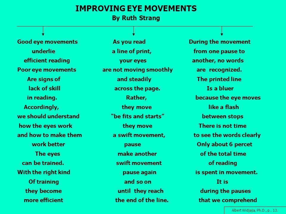IMPROVING EYE MOVEMENTS By Ruth Strang