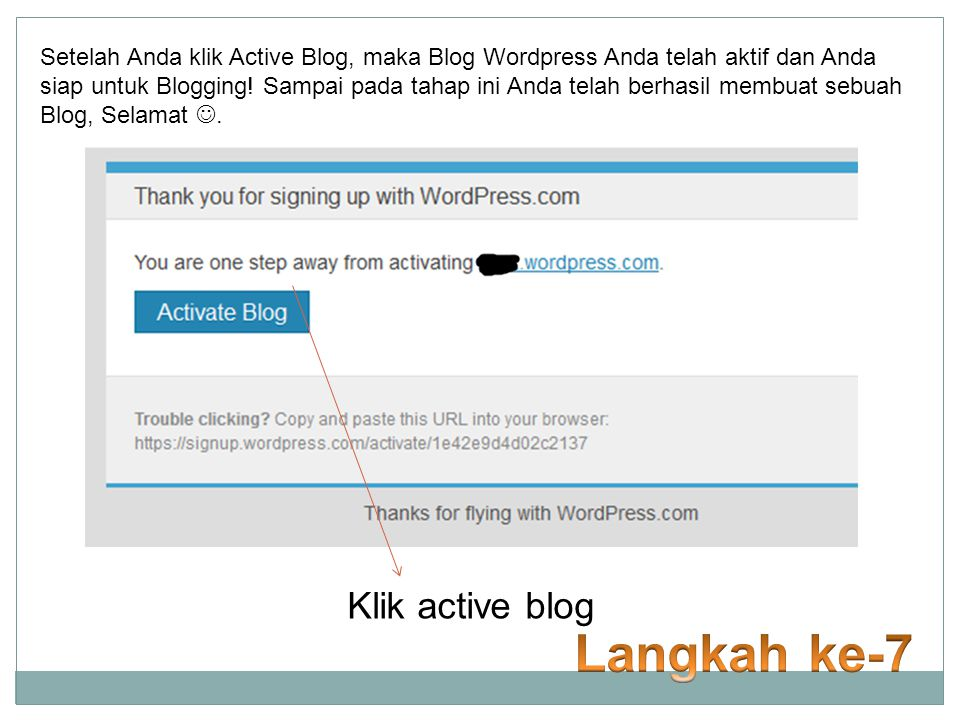 Langkah ke-7 Klik active blog