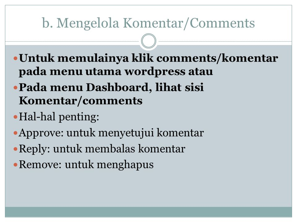 b. Mengelola Komentar/Comments