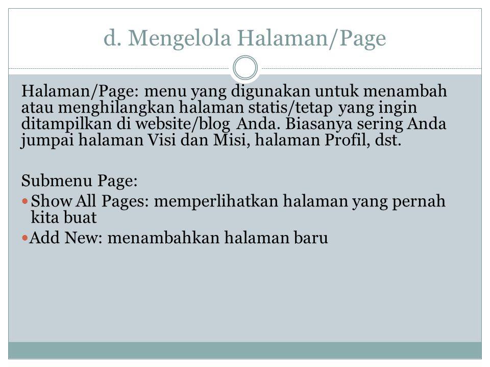 d. Mengelola Halaman/Page