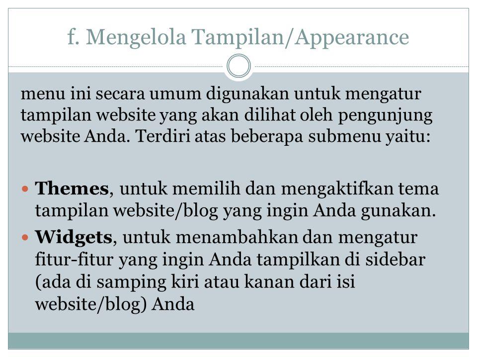 f. Mengelola Tampilan/Appearance