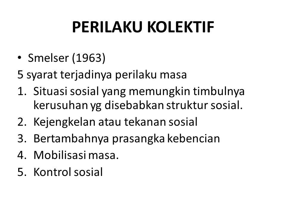 PERILAKU KOLEKTIF Smelser (1963) 5 syarat terjadinya perilaku masa