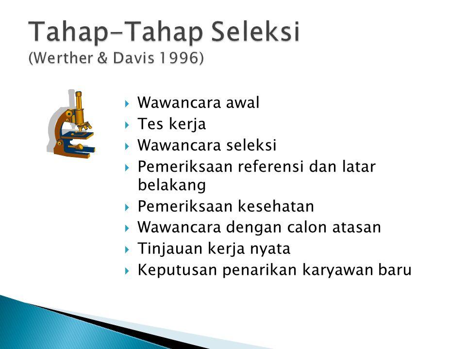 Tahap-Tahap Seleksi (Werther & Davis 1996)