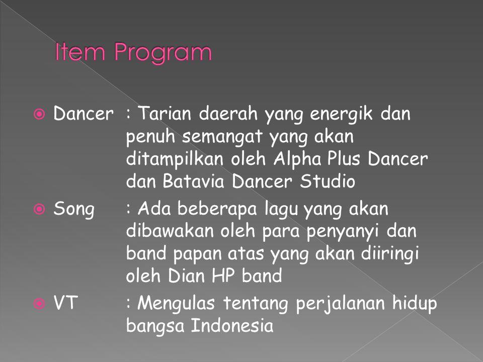 Item Program Dancer : Tarian daerah yang energik dan penuh semangat yang akan ditampilkan oleh Alpha Plus Dancer dan Batavia Dancer Studio.