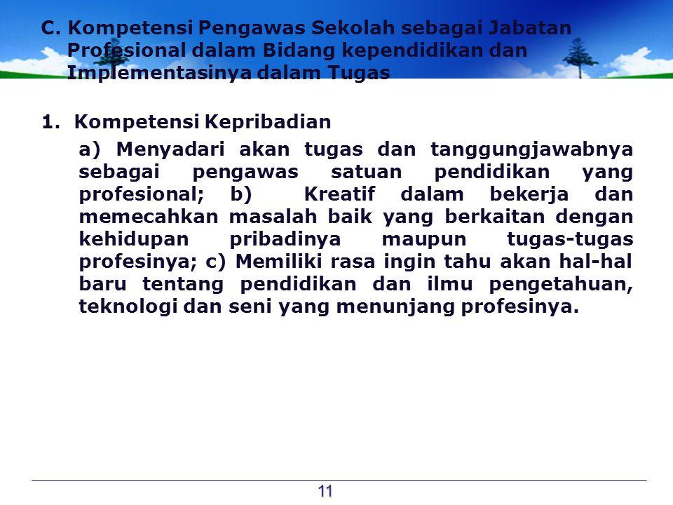 C. Kompetensi Pengawas Sekolah sebagai Jabatan Profesional dalam Bidang kependidikan dan Implementasinya dalam Tugas