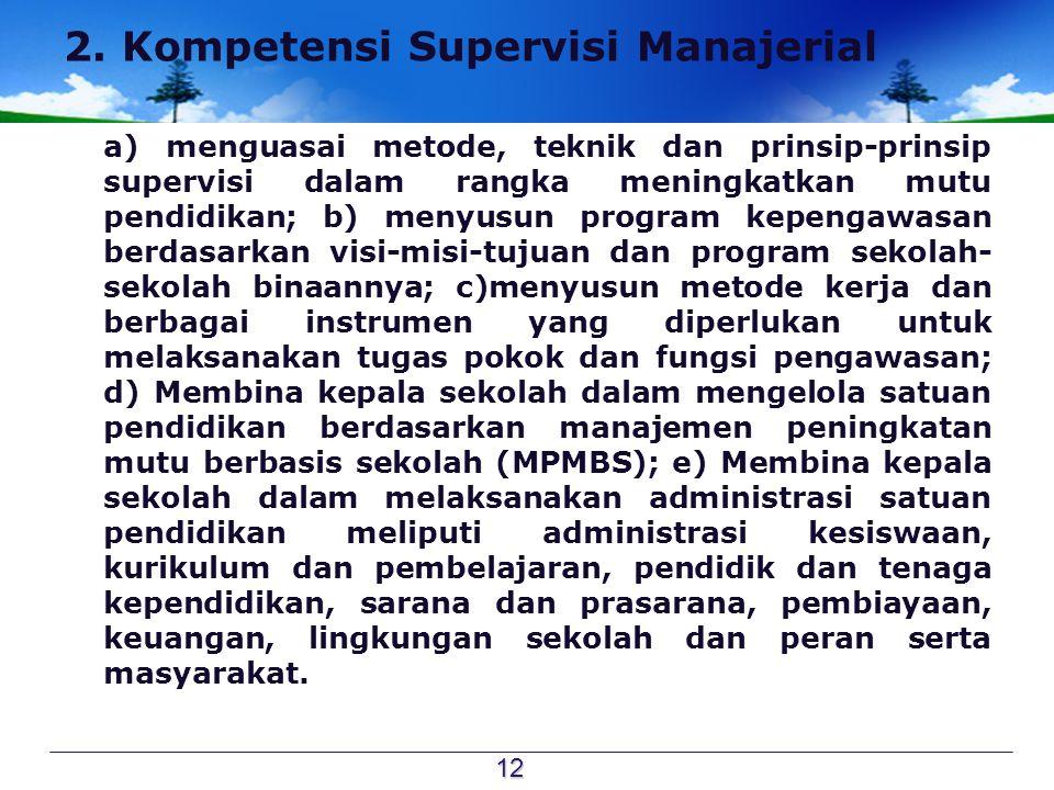 2. Kompetensi Supervisi Manajerial