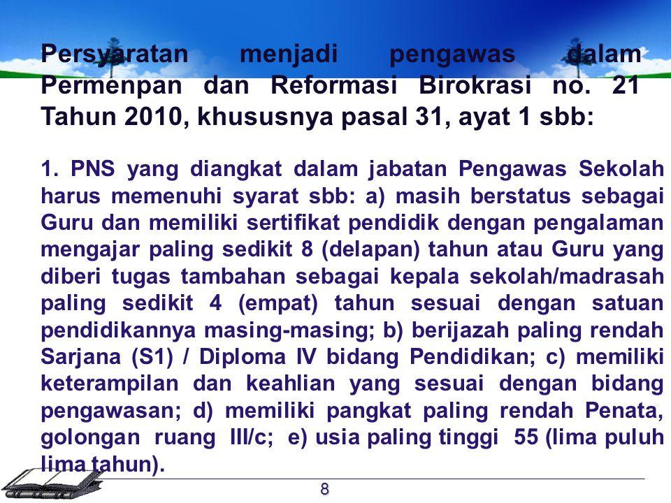 Persyaratan menjadi pengawas dalam Permenpan dan Reformasi Birokrasi no. 21 Tahun 2010, khususnya pasal 31, ayat 1 sbb: