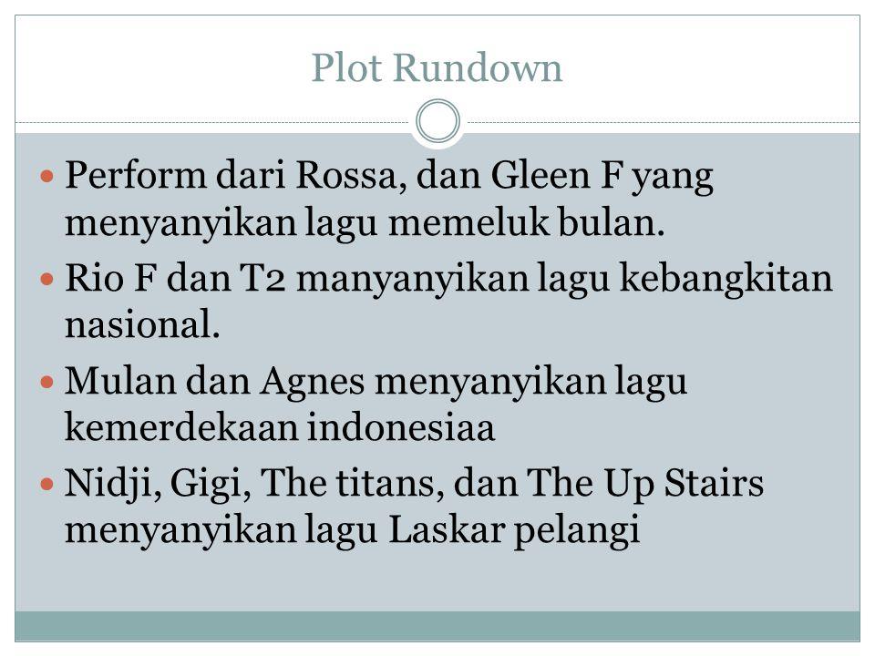 Plot Rundown Perform dari Rossa, dan Gleen F yang menyanyikan lagu memeluk bulan. Rio F dan T2 manyanyikan lagu kebangkitan nasional.