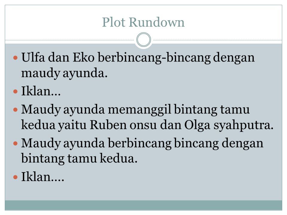 Plot Rundown Ulfa dan Eko berbincang-bincang dengan maudy ayunda.