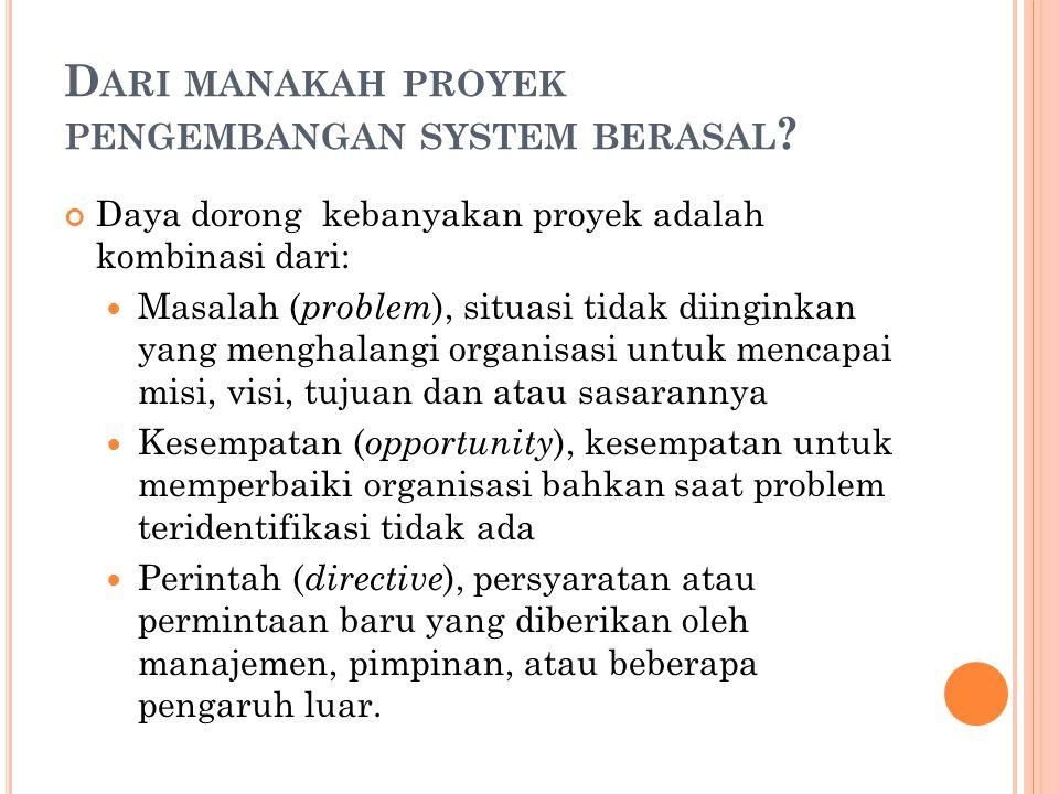 Dari manakah proyek pengembangan system berasal