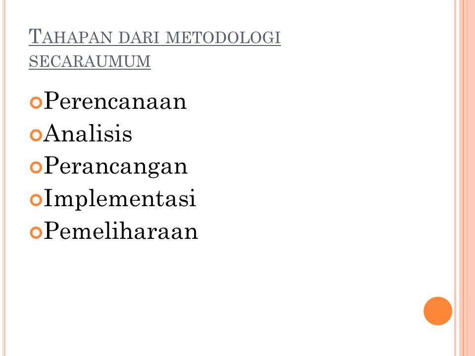 Tahapan dari metodologi secaraumum