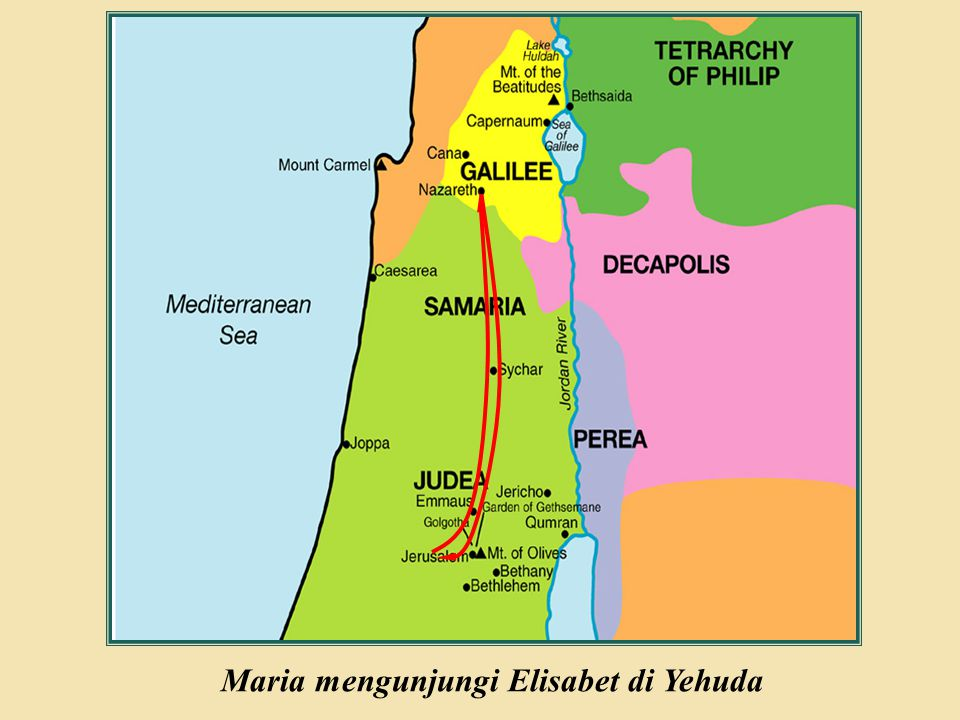 Maria mengunjungi Elisabet di Yehuda