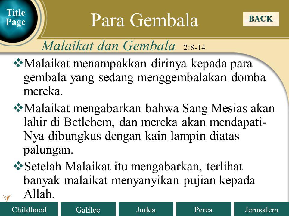 Para Gembala Malaikat dan Gembala 2:8-14