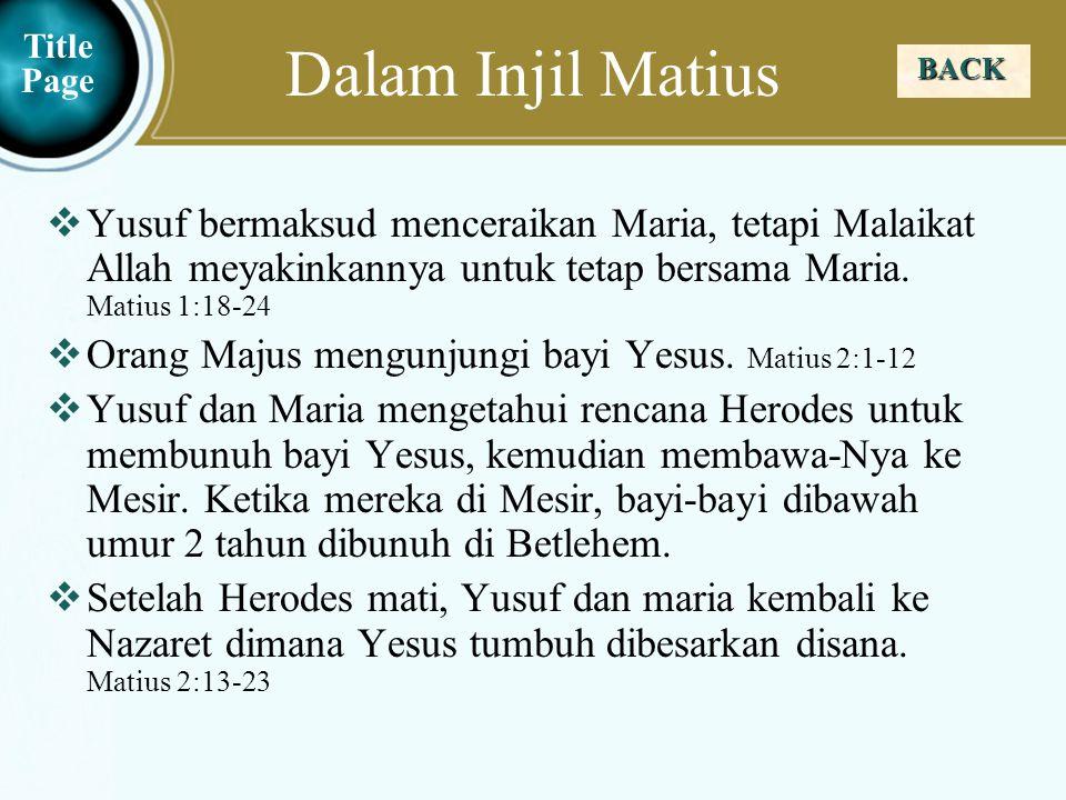 Dalam Injil Matius Title Page. BACK.