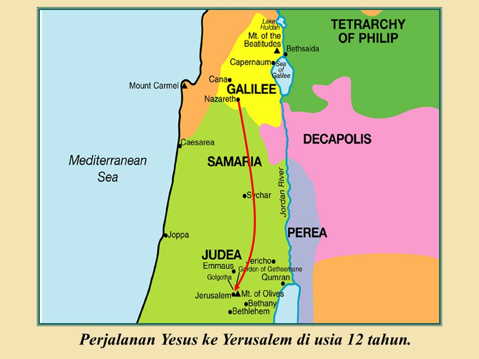 Perjalanan Yesus ke Yerusalem di usia 12 tahun.