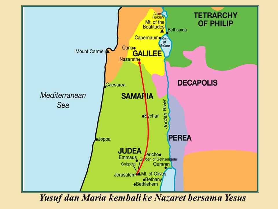 Yusuf dan Maria kembali ke Nazaret bersama Yesus