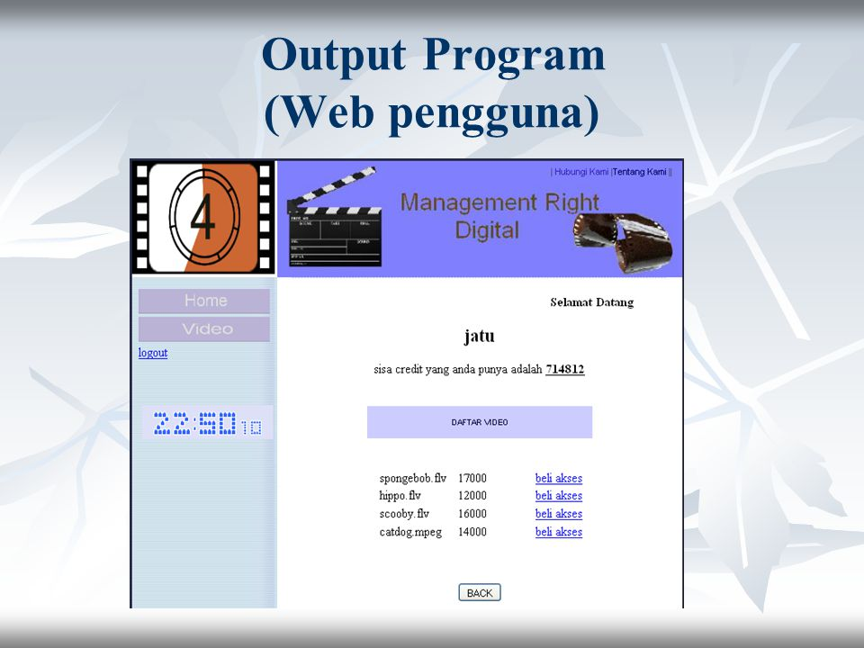 Output Program (Web pengguna)